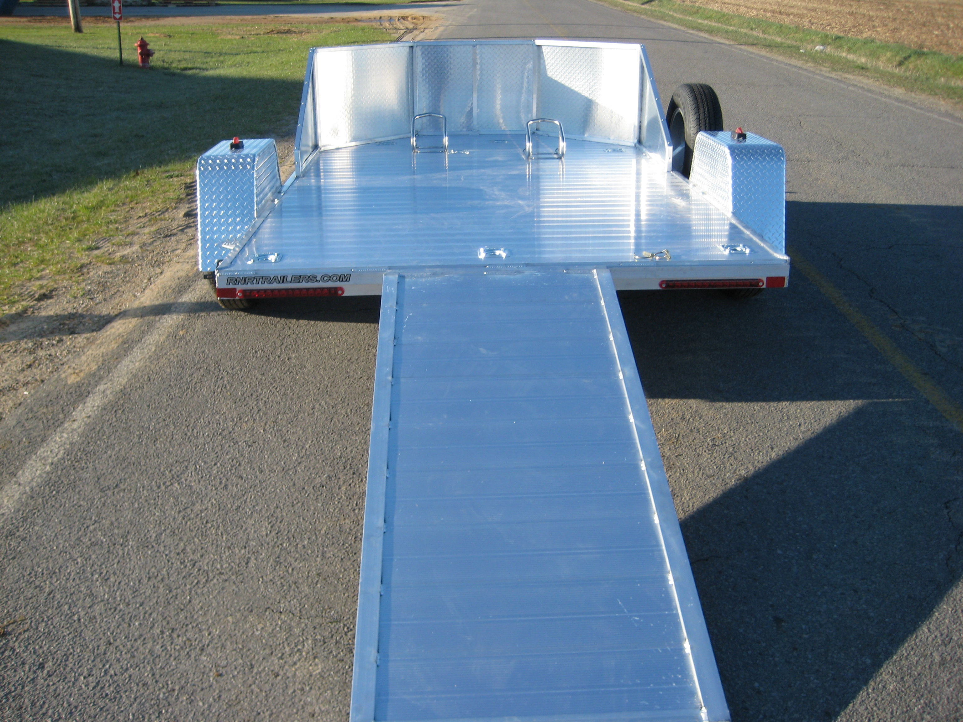 trailer motorcycle aluminum omc trailers open series specs rnr